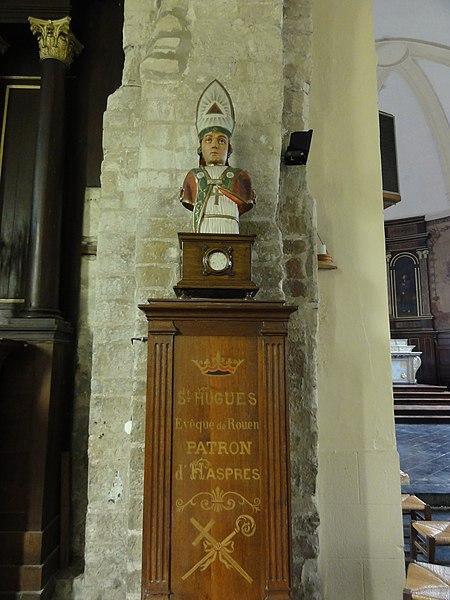 Haspres (Nord, Fr) église, buste Saint Hugues