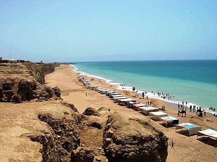 Vast stretches of beach are found along the coast west of Karachi, such as at Hawke's Bay. HawkesBay.jpg