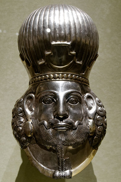 Bust of a Sasanian king, most likely Shapur II. Head of king Met 65.126.jpg