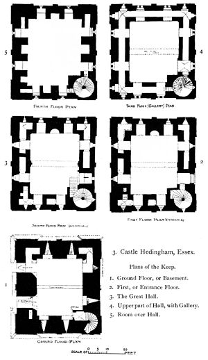 Hedingham Castle - Floor plans of the keep from The Growth of the English House by John Alfred Gotch, 1909.