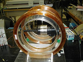 Helmholtz coil Arrangement of two circular coils with distance equal to radius for a homogeneous magnetic field in the center