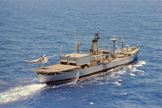USNS Haiti Victory (T-AK-238) - USNS Longview with helicopter landing aft