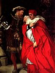 Henry VIII and Cardinal Wolsey, painting by Sir John Gilbert, Ego et Rex Meus, Me and My King.jpg