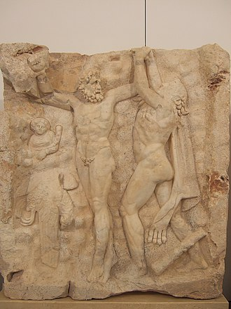 Prometheus - Heracles freeing Prometheus, relief from the Temple of Aphrodite at Aphrodisias