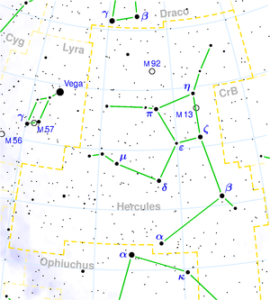 Star hopping - Star chart showing the constellation Hercules