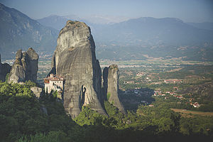 Meteora - Image: High above Kalambaka at Meteora