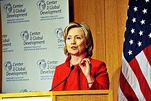Secretary Clinton speaks at CGD about Development in the 21st century on January 6, 2010.