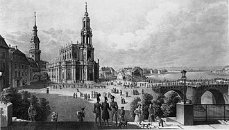 Dresden Cathedral - The church around 1840