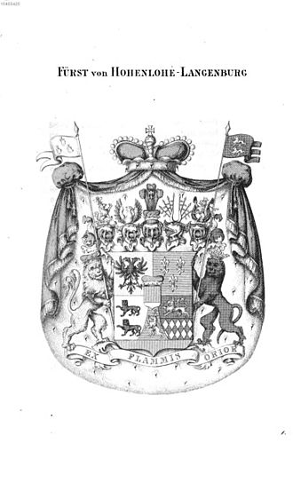 Hohenlohe-Langenburg - Antique print of the princely arms