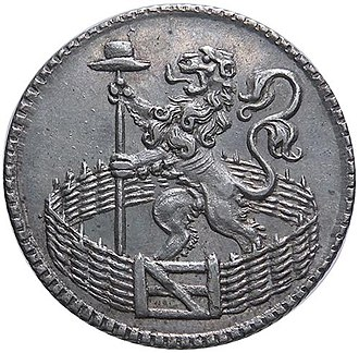 Liberty pole - A Dutch coin of 1753 depicting a lion holding a liberty pole
