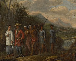 Dutch Merchant with Slaves in a West Indies Hills