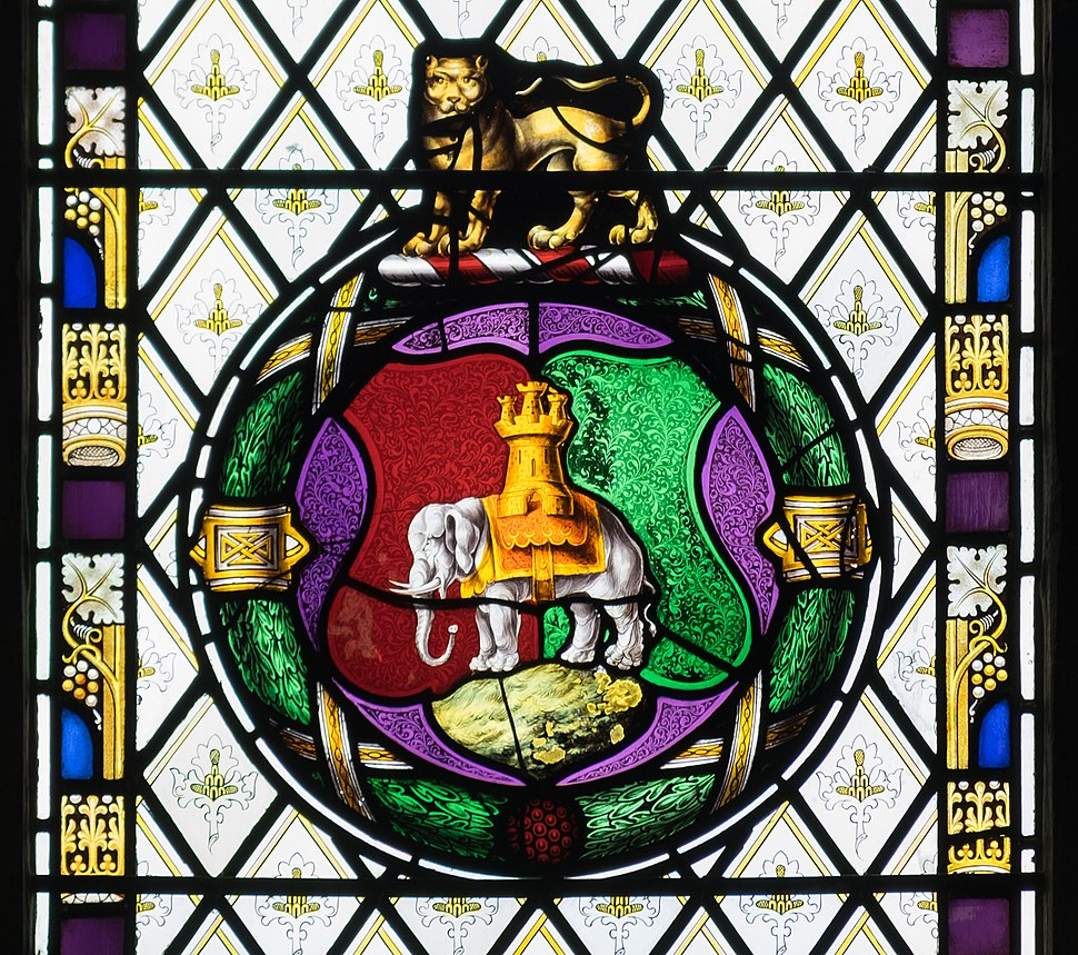 Holy Trinity Church, Coventry - Coventry symbols detail in stained glass
