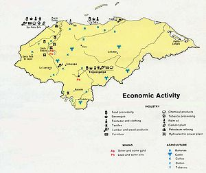 Economy of Honduras - An economic activity map of Honduras, 1983.
