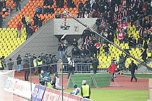 Hooliganism - Hooligans at a football match of Spartak Moscow in November 2010