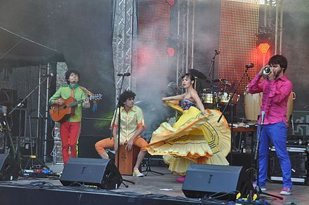 The Afro-Colombian ensemble Monsieur Perine mixes cumbian sounds with a gypsy-swing style. Horizonte 2013 1638.JPG