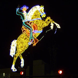 Neon Museum - Horse and rider from the Hacienda Resort