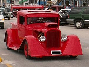 Chopping and channeling - Ford pickup with chopped top.