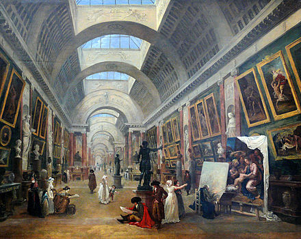 1796 painting by Robert showing a design for the Grand Gallery of the Louvre Museum in Paris Hubert Robert - Projet d'amenagement de la Grande Galerie du Louvre (1796).JPG