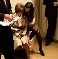 Huma Abedin and Capricia Marshall in the outer Oval Office, 2009.jpg