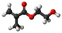 Ball-and-stick model of the hydroxyethyl methacrylate molecule