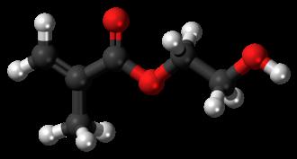 (Hydroxyethyl)methacrylate - Image: Hydroxyethyl methacrylate molecule ball