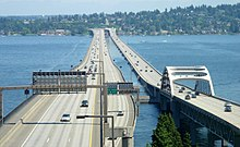 Floating bridges on Lake Washington.
