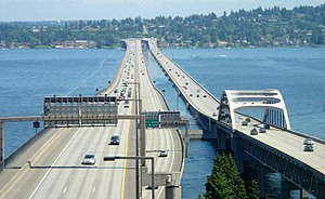 Interstate 90 in Washington - I-90 and its express lanes (middle) go east across Lake Washington on the Lacey V. Murrow Memorial Bridge and Homer M. Hadley Memorial Bridge.