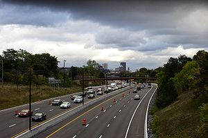 Interstate 490 (New York) - I-490 eastbound west of Downtown Rochester in the final stages of the Western Gateway project