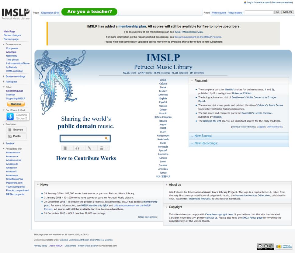IMSLP main page 2016