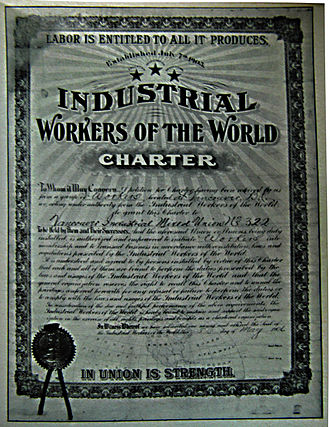 Industrial Workers of the World - The first IWW charter in Canada, Vancouver Industrial Mixed Union no.322, May 5, 1906.