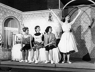 "West Side Story - L-R: Elizabeth Taylor, Carmen Guitterez, Marilyn Cooper, and Carol Lawrence from the original Broadway cast sing ""I Feel Pretty"" (1957)"