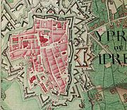 Ieper, Belgium; Ferraris Map