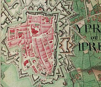 Ypres - Ypres on the Ferraris map (around 1775)