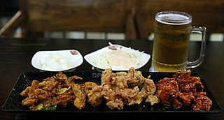 <i>Chimaek</i> Korean fried chicken served with beer