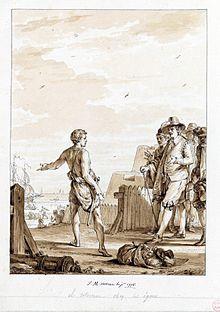 Un Hottentot vêtu d'un pagne indique un bateau à un groupe de bourgeois hollandais qui semblent vouloir le retenir.
