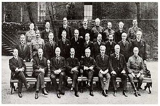 Ganga Singh - Maharaja Sir Ganga Singh (middle row, second from the left) in the Imperial War Cabinet, No. 10 Downing Street, 1917.