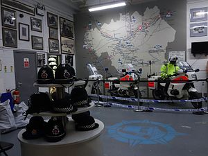 Greater Manchester Police Museum - Helmets and motorcycles on display