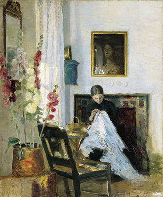 Marie Krøyer - Marie Kroyer, Interior with Girl Sewing (undated)