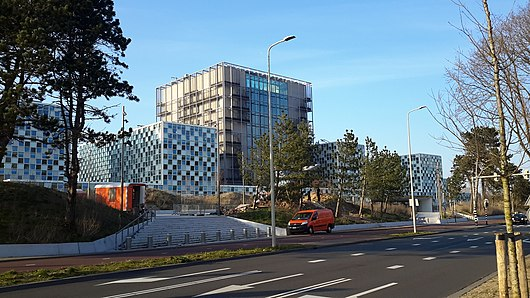 The premises of the International Criminal Court in The Hague, Netherlands. The ICC moved into this building in December 2015 International Criminal Court Headquarters, Netherlands.jpg