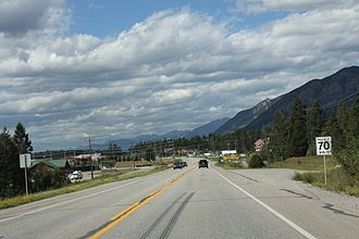 Invermere - Looking north on BC93 / BC95 at Invermere