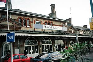 The front of Ipswich station