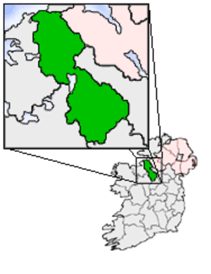 Plan W - Map of Ireland, with Ballinamore, location of the first line of defence of Ireland against a British invasion.