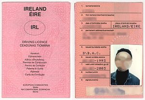 Driving licence in the Republic of Ireland - Image: Irish driving licence