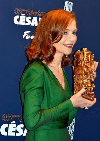 42nd César Awards - Isabelle Huppert, Best Actress winner.