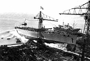 Italian battleship Impero during her launching.jpg