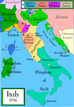 The Italian peninsula in 1796