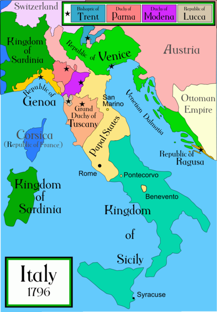 Map of the Italian Peninsula in 1796, showing the Papal States before the Napoleonic wars changed the face of the peninsula. Italy 1796 AD.png