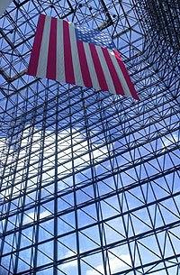 JFK Library Pavillion %26 flag