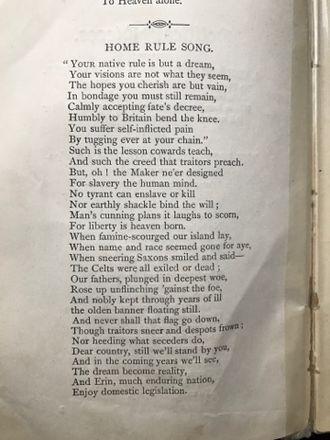 John McDonald (poet) - JMcD Dromod, Home Rule Song, 1886, poem