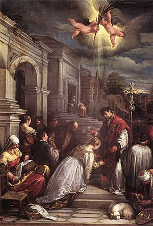 Jacopo da Ponte - St Valentine Baptizing St Lu...